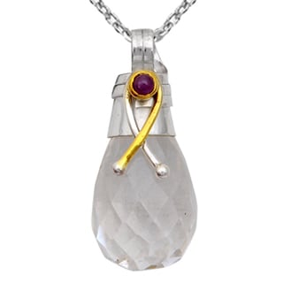 Orchid Jewelry Two-tone 925 Silver 24 1/7 Carat Faceted Crystal Quartz and Ruby Drop Pendant