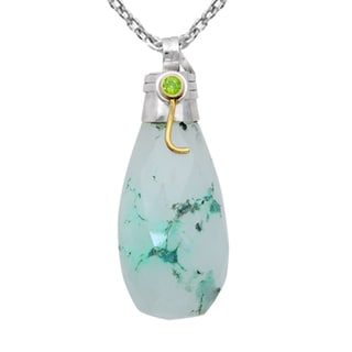Orchid Jewelry Two-tone 925 Silver 85 1/7 Carat Faceted Green Agate and Peridot Drop Pendant