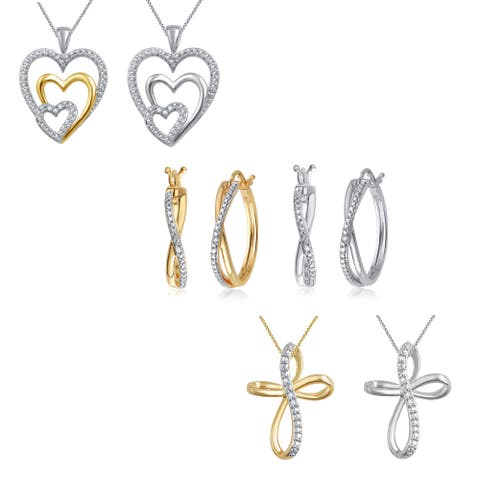 Goldtone and Silver Overlay Diamond Accent Heart and Cross Pendant and Hoop Earrings (I-J, I3)