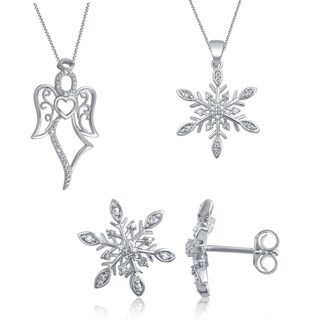 Silver Overlay Diamond Accent 3 Pcs Fashion Jewelry Set with Snowflake Earrings,Snowflake Pendant and Angle Pendant (I-J,I3).