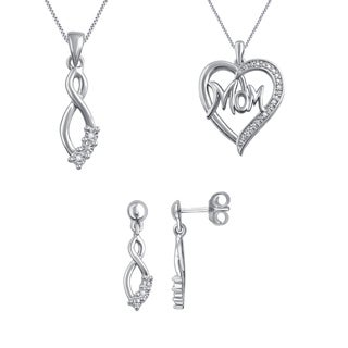 Silver Overlay Diamond Accent 3-Piece Fashion Jewelry Set (I-J, I3)