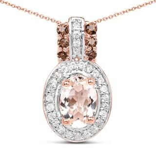 Malaika 18k Rose Gold over Silver 1ct TGW Morganite, Smokey Quartz and White Zircon Pendant - Pink