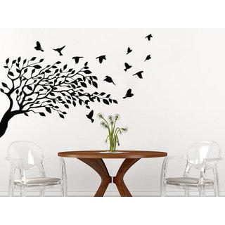 Tree Leaves Nature Birds Nursery Bedroom Room Home Interior Decor Sticker Decal size 33x45 Color Black