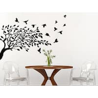 Tree Leaves Nature Birds Nursery Bedroom Room Home Interior Decor Sticker Decal 48x65 Color Black