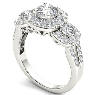 De Couer 14k White Gold 1 5/8ct TDW Diamond Halo Ring (H-I, I2)