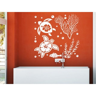 Turtle Tortoise Tortoiseshell Seaweed Ocean Sea Fish Bathroom Decor Sticker Decal size 22x26 Color B