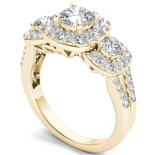 De Couer 14k Yellow Gold 1 5/8ct TDW Diamond Halo Ring (H-I, I2)