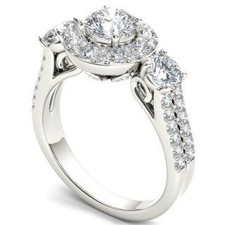 De Couer 14k White Gold 2ct TDW Diamond Halo Ring