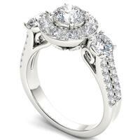 De Couer 14k White Gold 2ct TDW Diamond Halo Ring