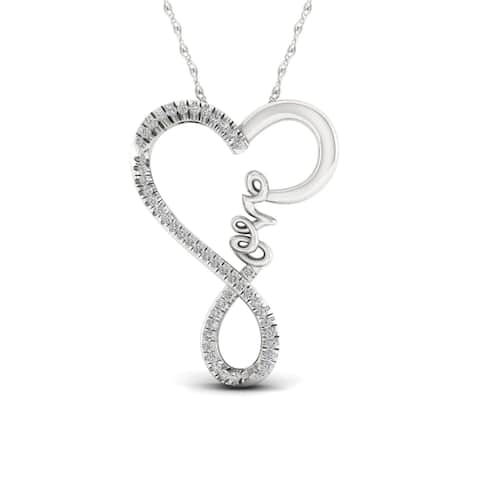 IGI Certified 1/4ct TDW Diamond Love Necklace in Sterling Silver - White