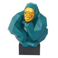 Green/Gold Resin Pondering Ape Sculpture