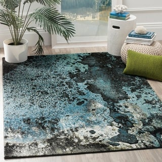 Safavieh Glacier Abstract Watercolor Blue/ Multi Area Rug (6' 7 x 9')