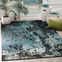 Safavieh Glacier Abstract Watercolor Blue/ Multi Area Rug (6' 7 x 9')