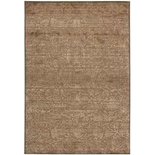 Martha Stewart by Safavieh Heritage Bloom Soft Anthracite/ Camel Viscose Rug (6'7 x 9'2)