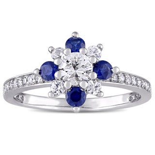 Miadora Signature Collection 14k White Gold White and Blue Sapphire 1/6ct TDW Diamond Flower Ring (G-H, I1-I2)
