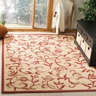 Martha Stewart By Safavieh Swirling Garden Cream/ Red Indoor/ Outdoor Rug  (8u0027