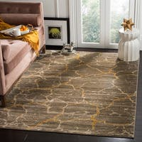"Safavieh Porcello Modern Dark Grey/ Yellow Area Rug - 8'2"" x 11'"