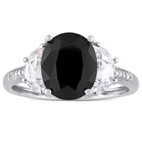Miadora Sterling Silver Black Sapphire Created White Sapphire and Diamond Accent Engagement Ring
