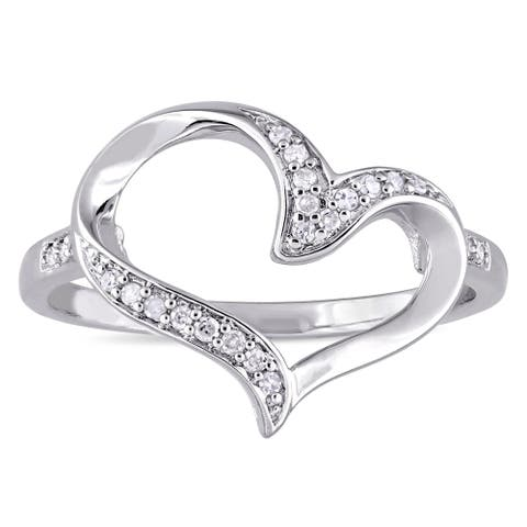 Miadora Sterling Silver 1/10ct TDW Diamond Open Heart Ring - White