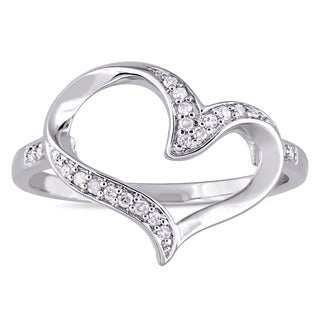 Miadora Sterling Silver 1/10ct TDW Diamond Open Heart Ring