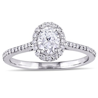 Miadora Signature Collection 3/4ct TDW Oval and Round-Cut Diamond Oval Halo Engagement Ring in 14k White Gold (G-H, I1-I2)