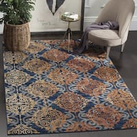 Safavieh Evoke Vintage Damask Blue/ Orange Distressed Rug - 6'7 Square