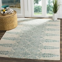 Safavieh Evoke Vintage Ivory / Teal Distressed Rug - 6'7 Square
