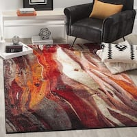 Safavieh Glacier Contemporary Abstract Red/ Multi Area Rug - 6' 7 Square