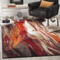 "Safavieh Glacier Contemporary Abstract Red/ Multi Area Rug - 6'7"" x 6'7"" square"