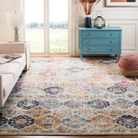 Safavieh Madison Bohemian Vintage Cream/ Multi Distressed Area Rug - 6'7 Square