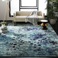 Safavieh Monaco Abstract Watercolor Light Blue/ Multi Distressed Rug - 6'7 x 6'7