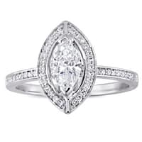 Miadora Signature Collection 14k White Gold 4/5ct TDW Marquise and Round Diamond Floating Halo Engagement Ring