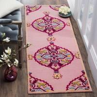 Safavieh Bellagio Hand-Woven Wool Pink / Multi Area Rug Runner - 2'3 x 7'