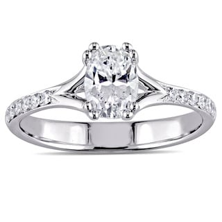 Miadora Signature Collection 18k White Gold 9/10ct TDW Oval-Cut Diamond Split Shank Engagement Ring