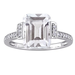 Miadora Sterling Silver Asscher Cut White Topaz and 1/10ct TDW Diamond Halo Engagement Ring (G-H, I1-I2)