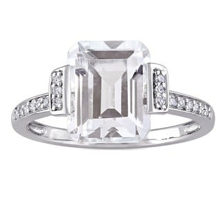 Miadora Sterling Silver Asscher Cut White Topaz and 1/10ct TDW Diamond Halo Engagement Ring (More options available)