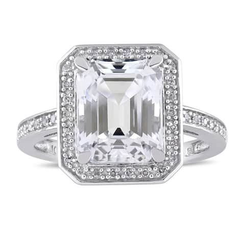 Miadora Signature Collection 10k White Gold Asscher-Cut White Topaz and 1/10ct TDW Diamond Halo Enga