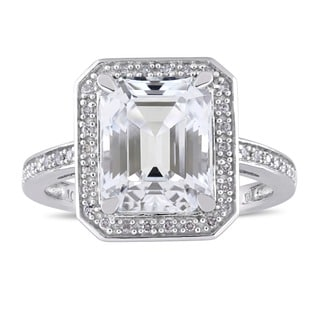 Miadora Signature Collection 10k White Gold Asscher-Cut White Topaz and 1/10ct TDW Diamond Halo Engagement Ring (G-H, I1-I2)