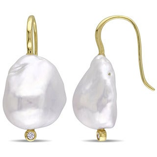 Miadora Signature Collection 14k Yellow Gold Cultured Freshwater Baroque Pearl Diamond Hook Earrings (14-14.5 mm)(G-H, SI1-SI2)