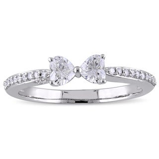 Miadora Signature Collection 14k White Gold 1/2ct TDW Heart and Round Diamond Bow Ring