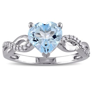 Miadora 10k White Gold Heart-Cut Sky Blue Topaz and 1/10ct TDW Diamond Infinity Engagement Ring