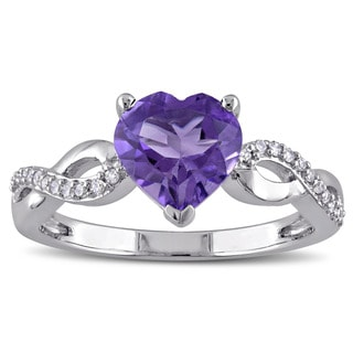Miadora 10k White Gold Heart-Cut Amethyst and 1/10ct TDW Diamond Infinity Engagement Ring