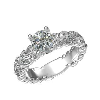 Sterling Silver 1-carat Center and 22, 0.23-carat Side Cubic Zirconia Engagement Ring