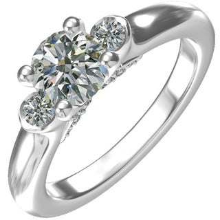 SS/CZ Classic 3 stone Engagement RING 1 CT RD CTR WITH 22=0.29 CTW SIDE CZ