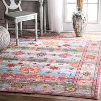 nuLOOM Vintage Oriental Inspired Floral Vine Pink Runner Rug (2'6 x 7'10)
