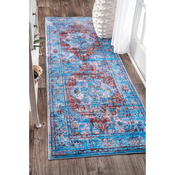 Nuloom Antique Border Floral Centerpiece Blue Runner Rug