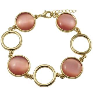 Luxiro Gold Finish Faux Cat Eye Stones Circle Bracelet