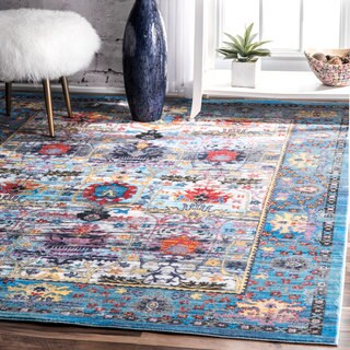 nuLOOM Traditional Vibrant Floral Blue Border Rug (5'3 x 7'10)