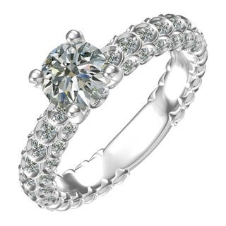 Sterling Silver Classic Engagement Ring with 1 Ct. 4-prong set Round Center and Side Accents