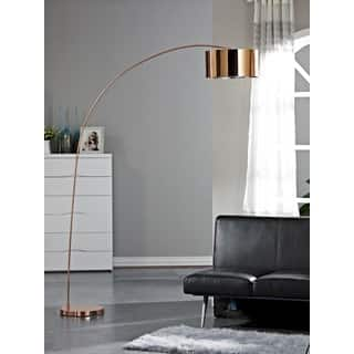 Arc floor lamps for less overstock artiva usa adelina 81 inch rose copper led arched floor lamp aloadofball Images